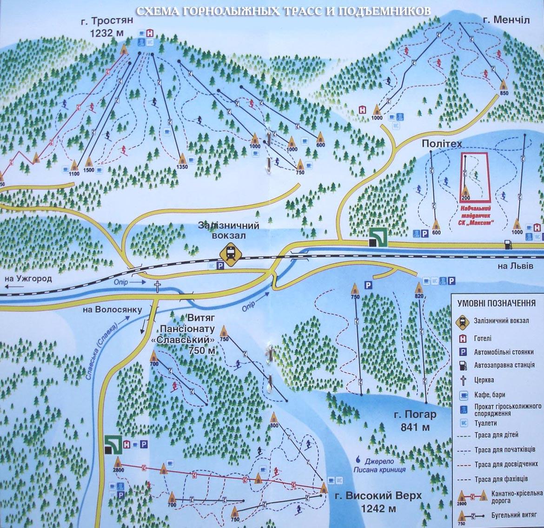 Схема горнолыжных трасс и подъёмников